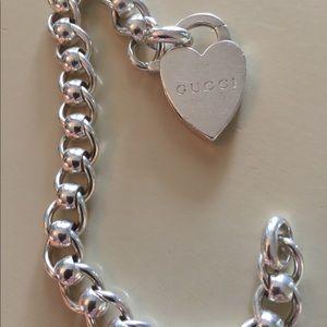 Gucci Heart Tag Bracelet size 7.5.. 46.1 g Silver